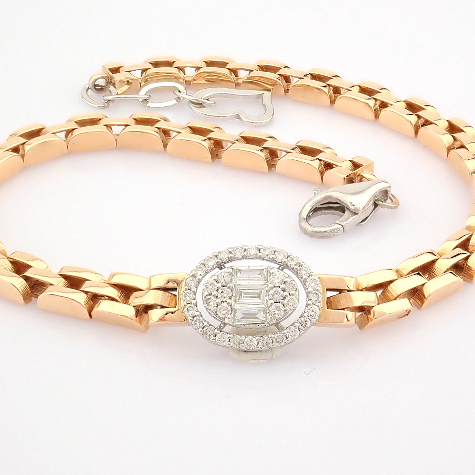 HRD Antwerp Certified 14K White and Rose Gold Diamond Bracelet (Total 0.3 Ct. Stone) 14K White and - Image 8 of 14