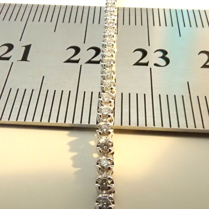 HRD Antwerp Certified 14K 0,91 Ct. Diamond Tennis Bracelet 14K   4,00 g White Gold 0,91 Ct. H/Vs - Image 7 of 7