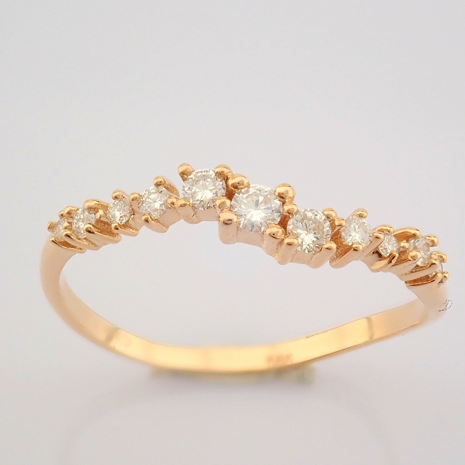 HRD Antwerp Certified 14K Rose/Pink Gold Diamond Ring (Total 0.21 Ct. Stone) 14K Rose/Pink Gold Ring