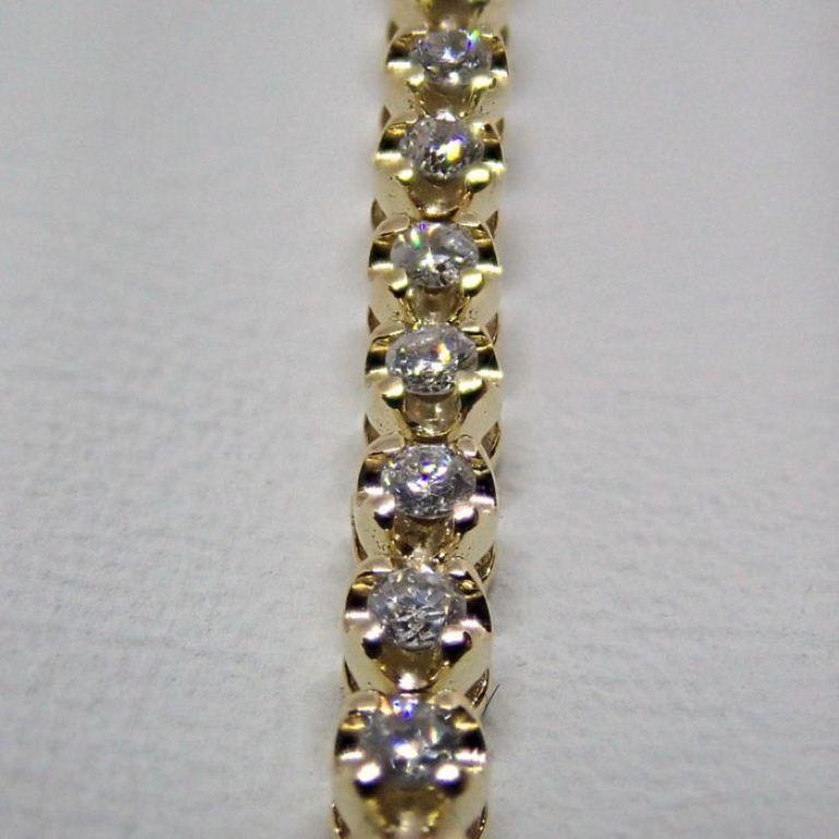 HRD Antwerp Certified 0,91 Ct. Diamond Tennis Bracelet 14K 4,00 g Yellow Gold 0,91 Ct. H/Vs Diamond, - Image 4 of 5