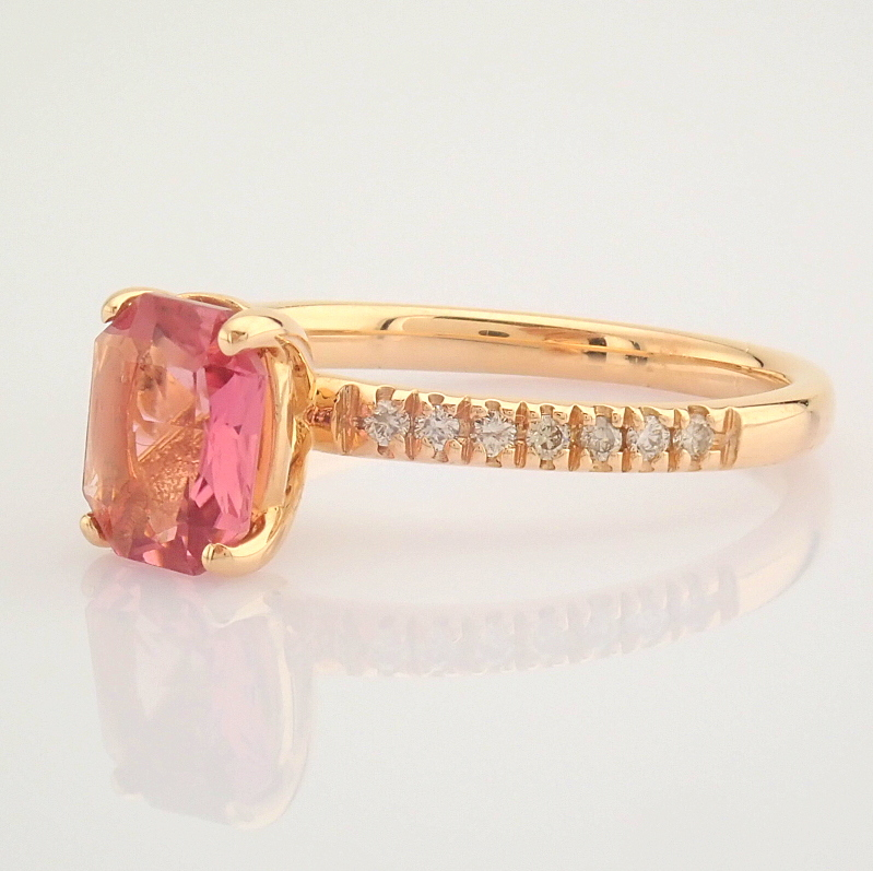 HRD Antwerp Certified 14K Rose/Pink Gold Diamond & Tourmaline Ring (Total 0.83 Ct. Stone) 14K Rose/ - Image 4 of 8