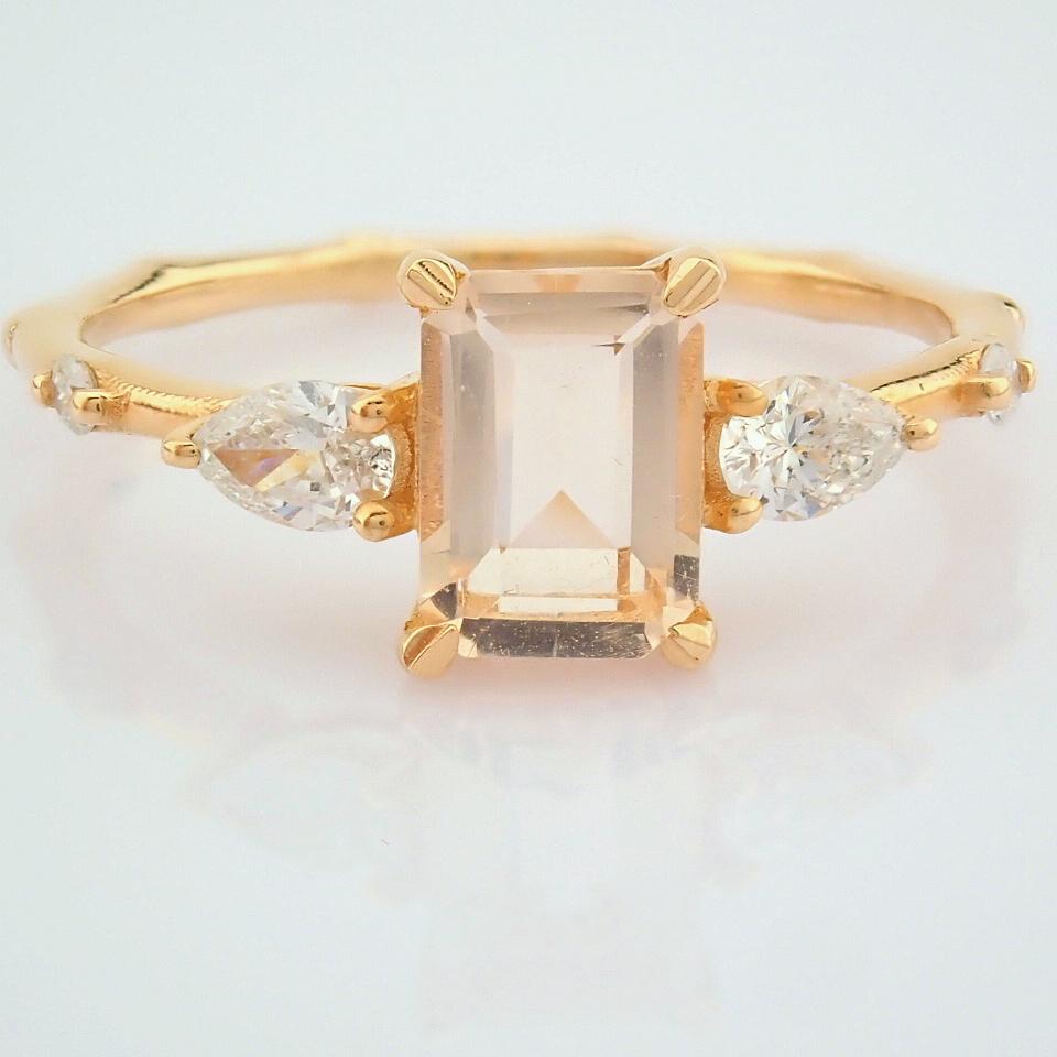 HRD Antwerp Certified 14k Rose/Pink Gold Diamond Ring (Total 0.98 Ct. Stone) 14k Rose/Pink Gold Ring - Image 10 of 11
