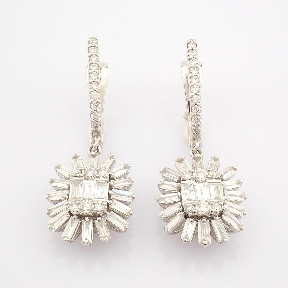 HRD Antwerp Certified 14K White Gold Diamond Earring (Total 1.02 Ct. Stone) 14K White Gold Earring - Image 8 of 8