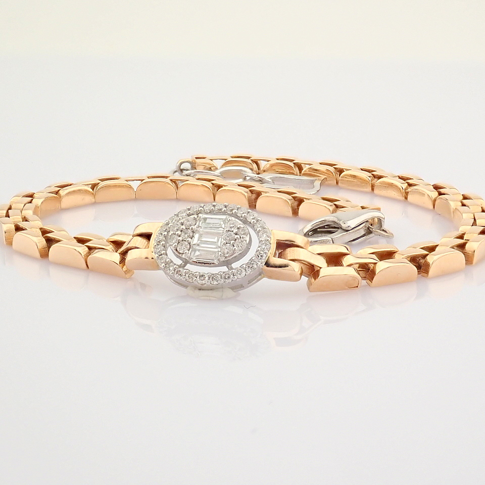 HRD Antwerp Certified 14K White and Rose Gold Diamond Bracelet (Total 0.3 Ct. Stone) 14K White and - Image 9 of 14