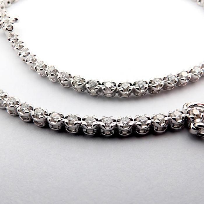 HRD Antwerp Certified 14K 0,91 Ct. Diamond Tennis Bracelet 14K   4,00 g White Gold 0,91 Ct. H/Vs - Image 5 of 7