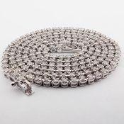 HRD Antwerp Certified 2,10 Ct. Diamond Tennis Eternity Necklace 14K 8,50 g White Gold 2,02 Ct. H/