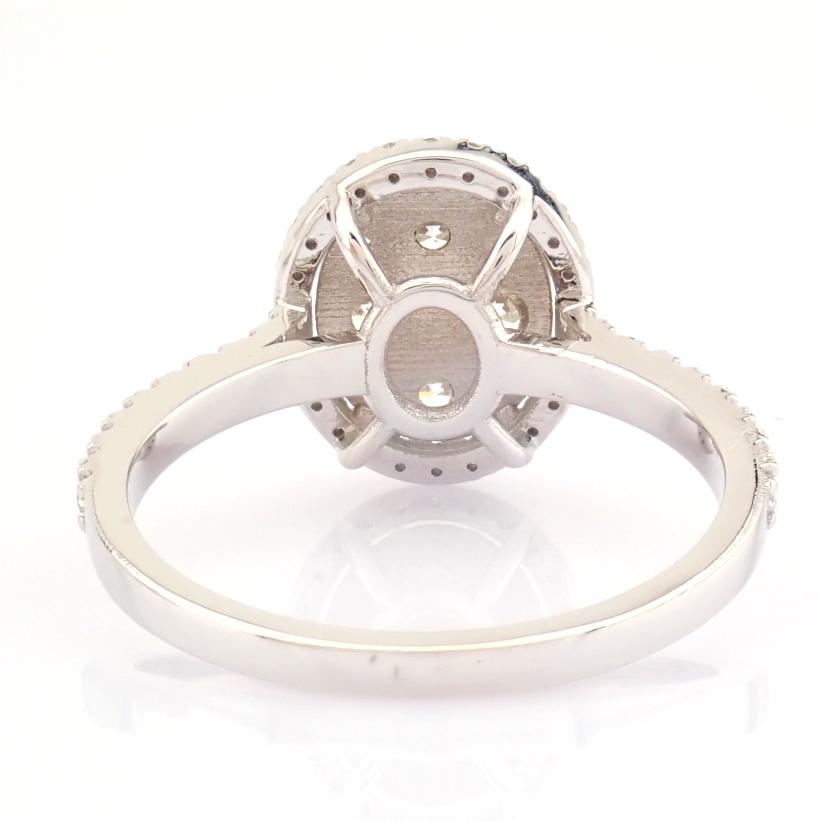 HRD Antwerp Certified 18K White Gold Diamond Ring (Total 0.89 Ct. Stone) 18K White Gold Ring - Image 10 of 13