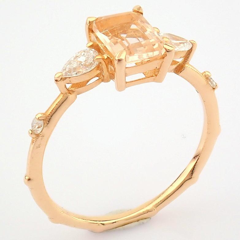 HRD Antwerp Certified 14k Rose/Pink Gold Diamond Ring (Total 0.98 Ct. Stone) 14k Rose/Pink Gold Ring - Image 5 of 11