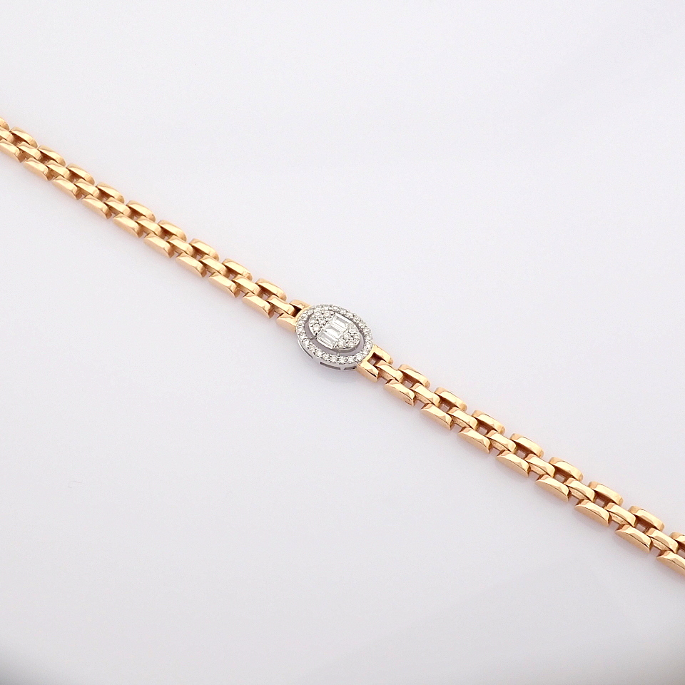 HRD Antwerp Certified 14K White and Rose Gold Diamond Bracelet (Total 0.3 Ct. Stone) 14K White and - Image 5 of 14