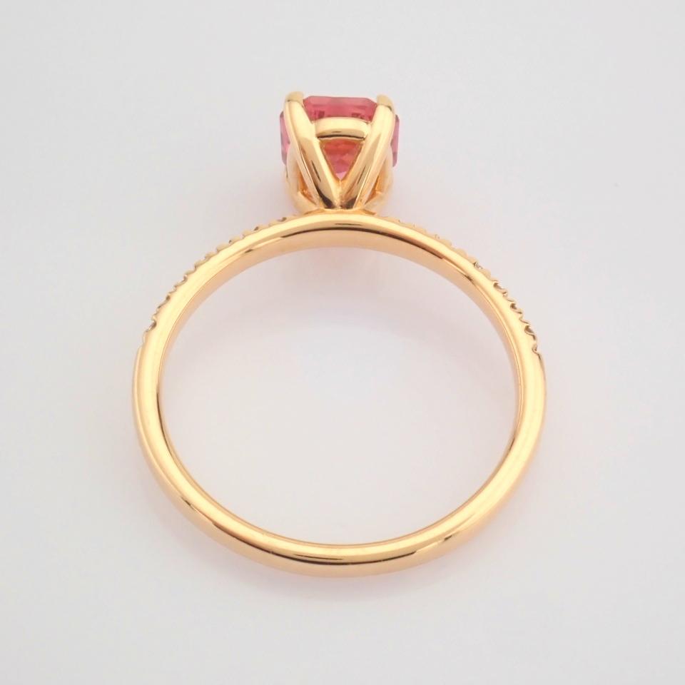 HRD Antwerp Certified 14K Rose/Pink Gold Diamond & Tourmaline Ring (Total 0.83 Ct. Stone) 14K Rose/ - Image 6 of 8