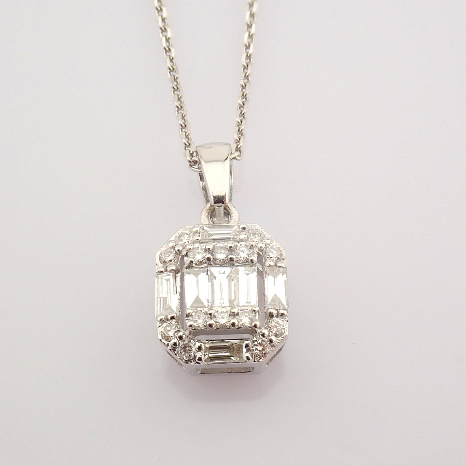 HRD Antwerp Certified 14k White Gold Diamond Pendant (Total 0.3 Ct. Stone) 14k White Gold Pendant