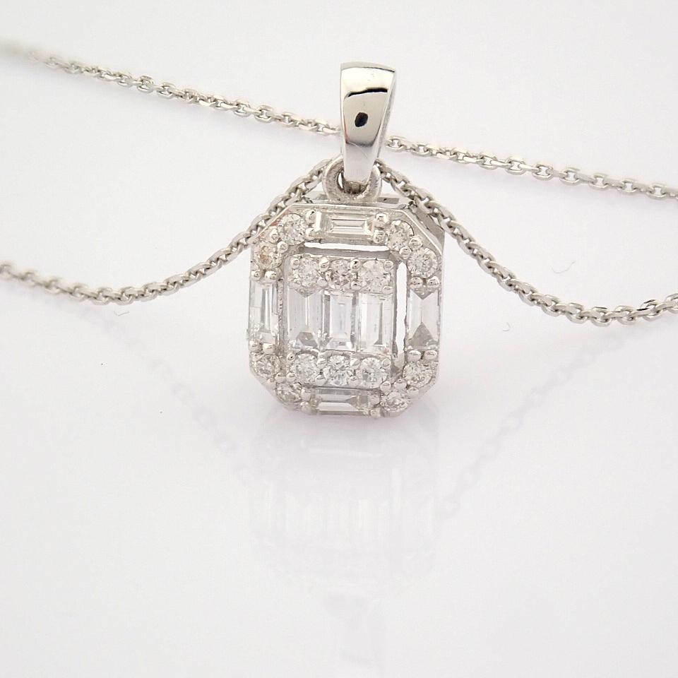 HRD Antwerp Certified 14k White Gold Diamond Pendant (Total 0.3 Ct. Stone) 14k White Gold Pendant - Image 7 of 8