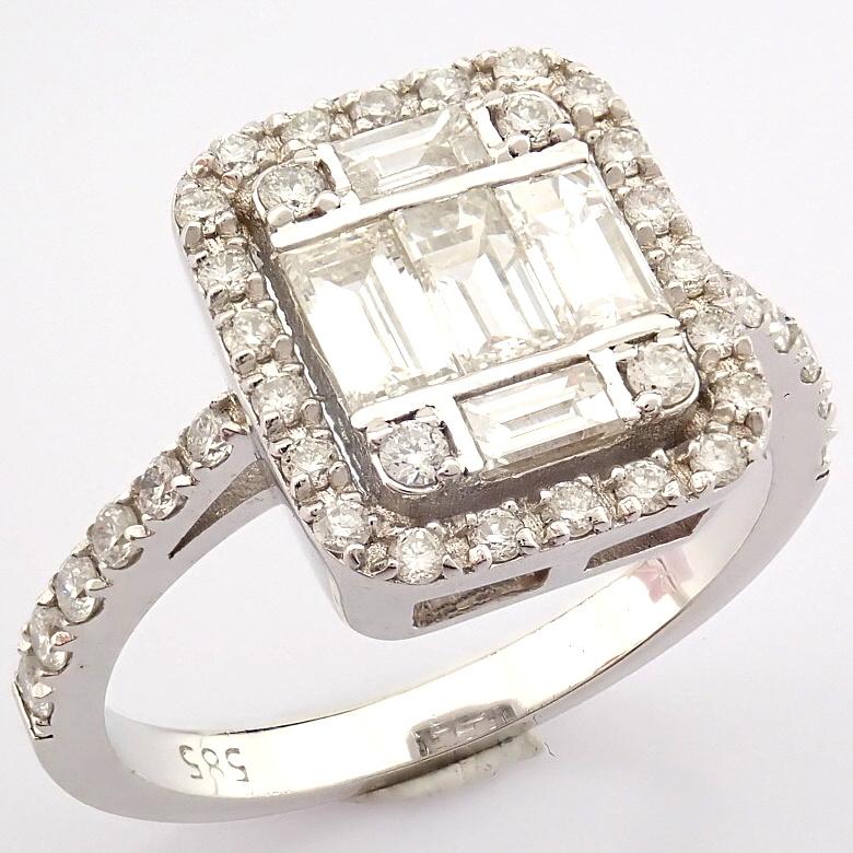 HRD Antwerp Certified 14K White Gold Diamond Ring (Total 1.11 Ct. Stone) 14K White Gold Ring - Image 11 of 12