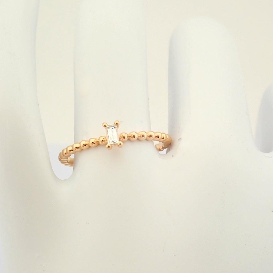 HRD Antwerp Certified 14K Rose/Pink Gold Baguette Diamond Ring (Total 0.09 Ct. Stone) 14K Rose/ - Image 5 of 9