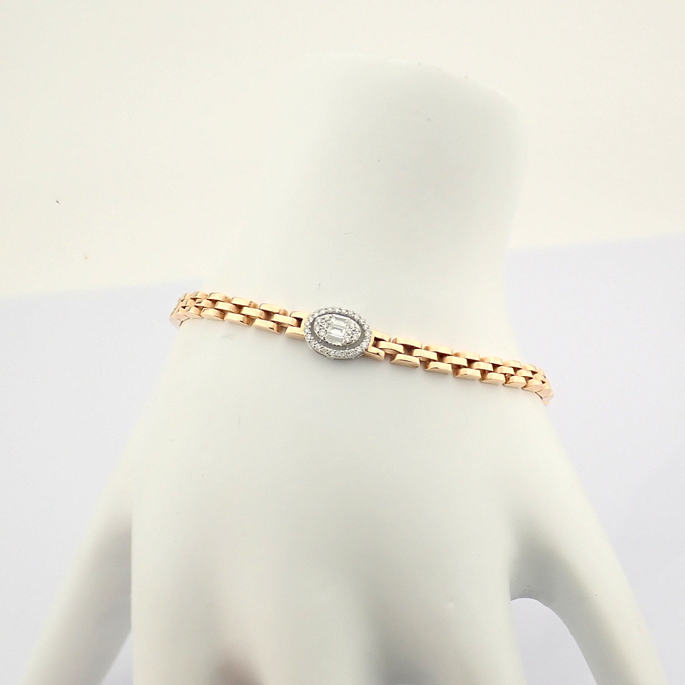 HRD Antwerp Certified 14K White and Rose Gold Diamond Bracelet (Total 0.3 Ct. Stone) 14K White and - Image 11 of 14