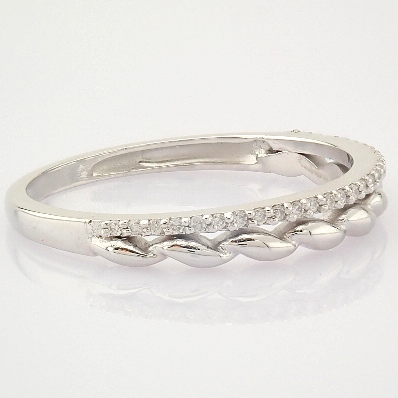HRD Antwerp Certified 14K White Gold Diamond Ring (Total 0.07 Ct. Stone) 14K White Gold Ring - Image 5 of 9