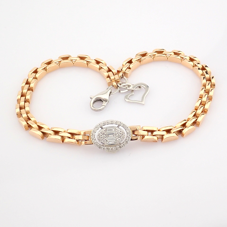 HRD Antwerp Certified 14K White and Rose Gold Diamond Bracelet (Total 0.3 Ct. Stone) 14K White and