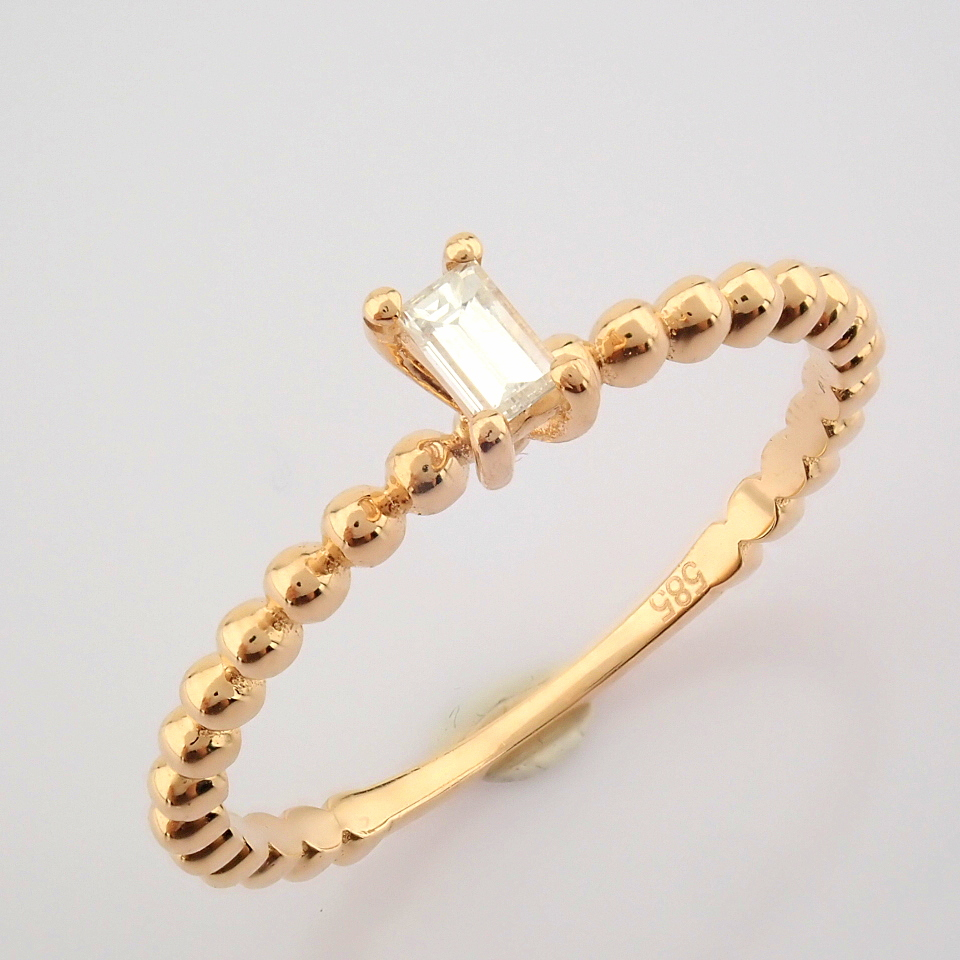 HRD Antwerp Certified 14K Rose/Pink Gold Baguette Diamond Ring (Total 0.09 Ct. Stone) 14K Rose/ - Image 9 of 9