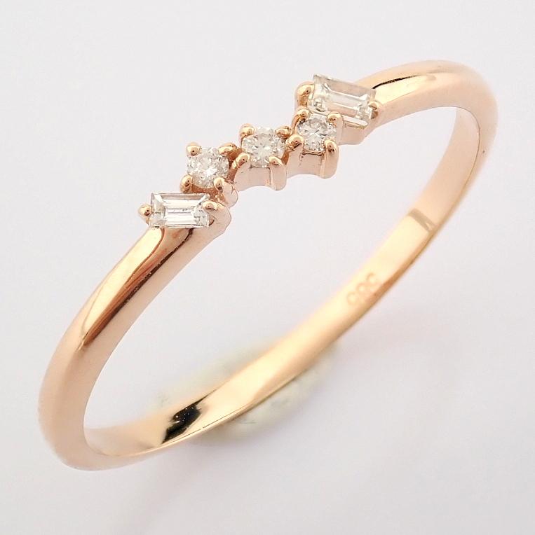 HRD Antwerp Certified 14K Rose/Pink Gold Baguette Diamond & Diamond Ring (Total 0.07 Ct. Ston... 14K - Image 8 of 8