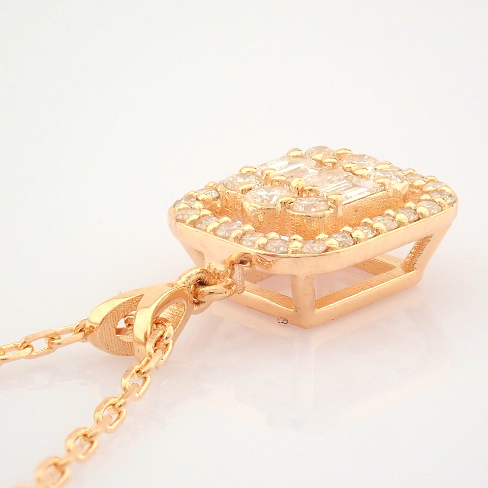 HRD Antwerp Certified 14K Rose/Pink Gold Diamond Necklace (Total 0.37 Ct. Stone) 14K Rose/Pink - Image 7 of 12