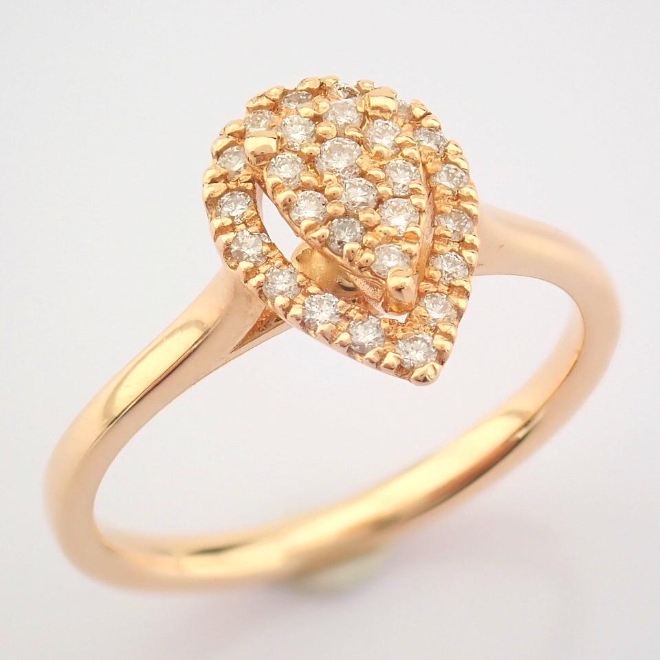 HRD Antwerp Certified 14K Rose/Pink Gold Diamond Ring (Total 0.16 Ct. Stone) 14K Rose/Pink Gold Ring - Image 5 of 7