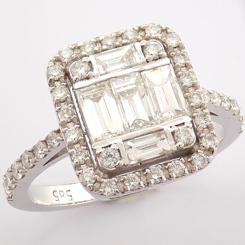 HRD Antwerp Certified 14K White Gold Diamond Ring (Total 1.11 Ct. Stone) 14K White Gold Ring - Image 12 of 12