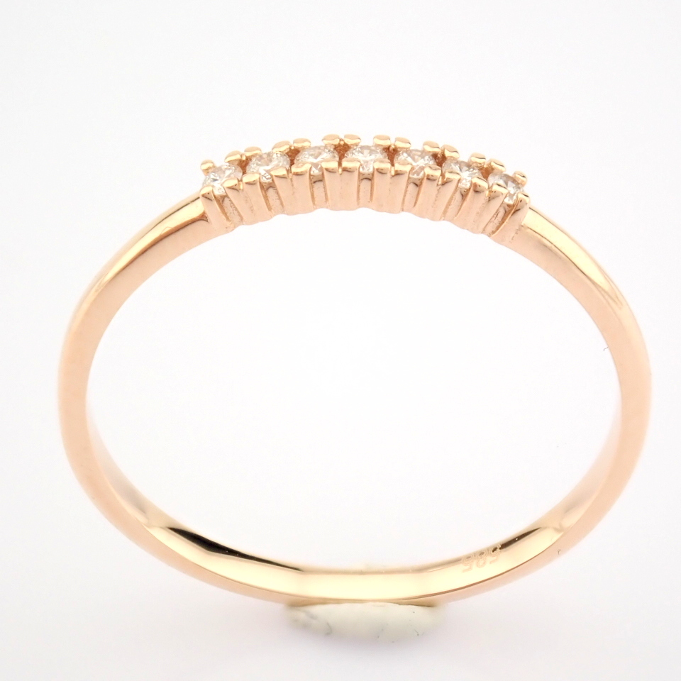 HRD Antwerp Certified 14K Rose/Pink Gold Diamond Ring (Total 0.06 Ct. Stone) 14K Rose/Pink Gold Ring - Image 2 of 9