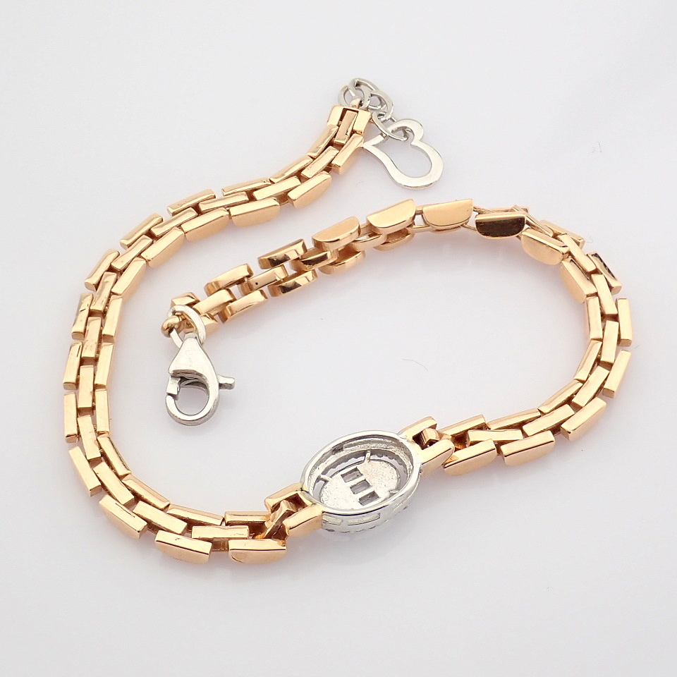HRD Antwerp Certified 14K White and Rose Gold Diamond Bracelet (Total 0.3 Ct. Stone) 14K White and - Image 10 of 14