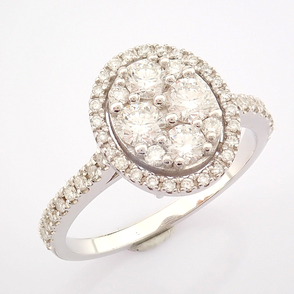 HRD Antwerp Certified 18K White Gold Diamond Ring (Total 0.89 Ct. Stone) 18K White Gold Ring - Image 12 of 13