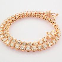 HRD Antwerp Certified 2,10 Ct. Diamond Tennis Bracelet (Crown) - 14K Rose Gold   5.70 g Rose /