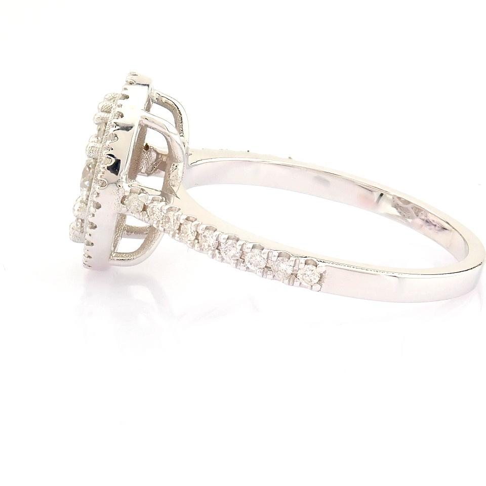 HRD Antwerp Certified 18K White Gold Diamond Ring (Total 0.89 Ct. Stone) 18K White Gold Ring - Image 9 of 13