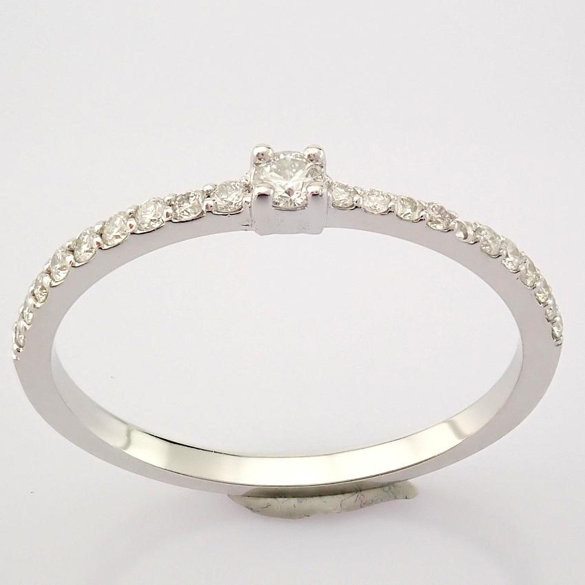 HRD Antwerp Certified 14K White Gold Diamond Ring (Total 0.11 Ct. Stone) 14K White Gold Ring