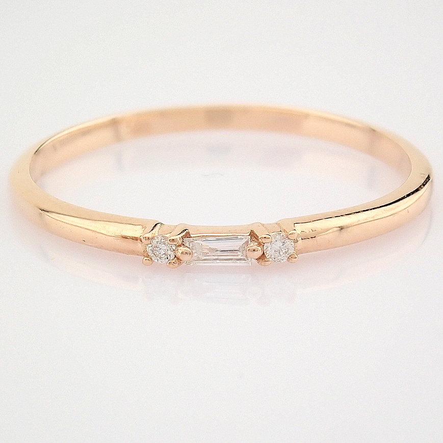HRD Antwerp Certified 14K Rose/Pink Gold Baguette Diamond & Diamond Ring (Total 0.04 Ct. Ston... 14K