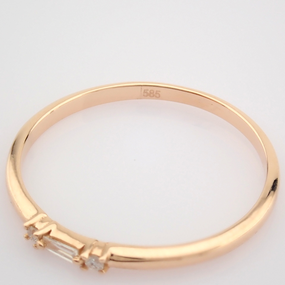 HRD Antwerp Certified 14K Rose/Pink Gold Baguette Diamond & Diamond Ring (Total 0.04 Ct. Ston... 14K - Image 5 of 9