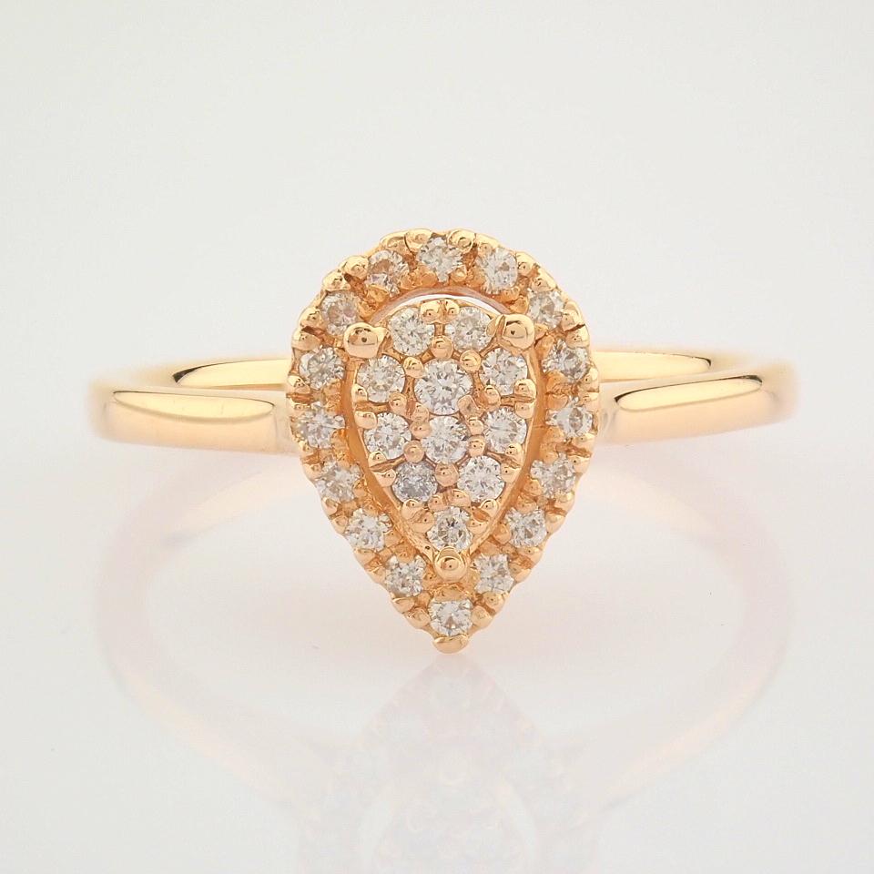 HRD Antwerp Certified 14K Rose/Pink Gold Diamond Ring (Total 0.16 Ct. Stone) 14K Rose/Pink Gold Ring