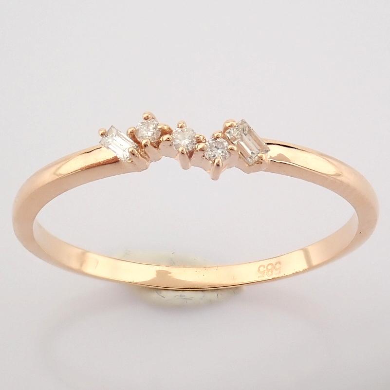 HRD Antwerp Certified 14K Rose/Pink Gold Baguette Diamond & Diamond Ring (Total 0.07 Ct. Ston... 14K - Image 6 of 8