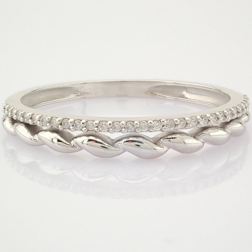 HRD Antwerp Certified 14K White Gold Diamond Ring (Total 0.07 Ct. Stone) 14K White Gold Ring - Image 4 of 9