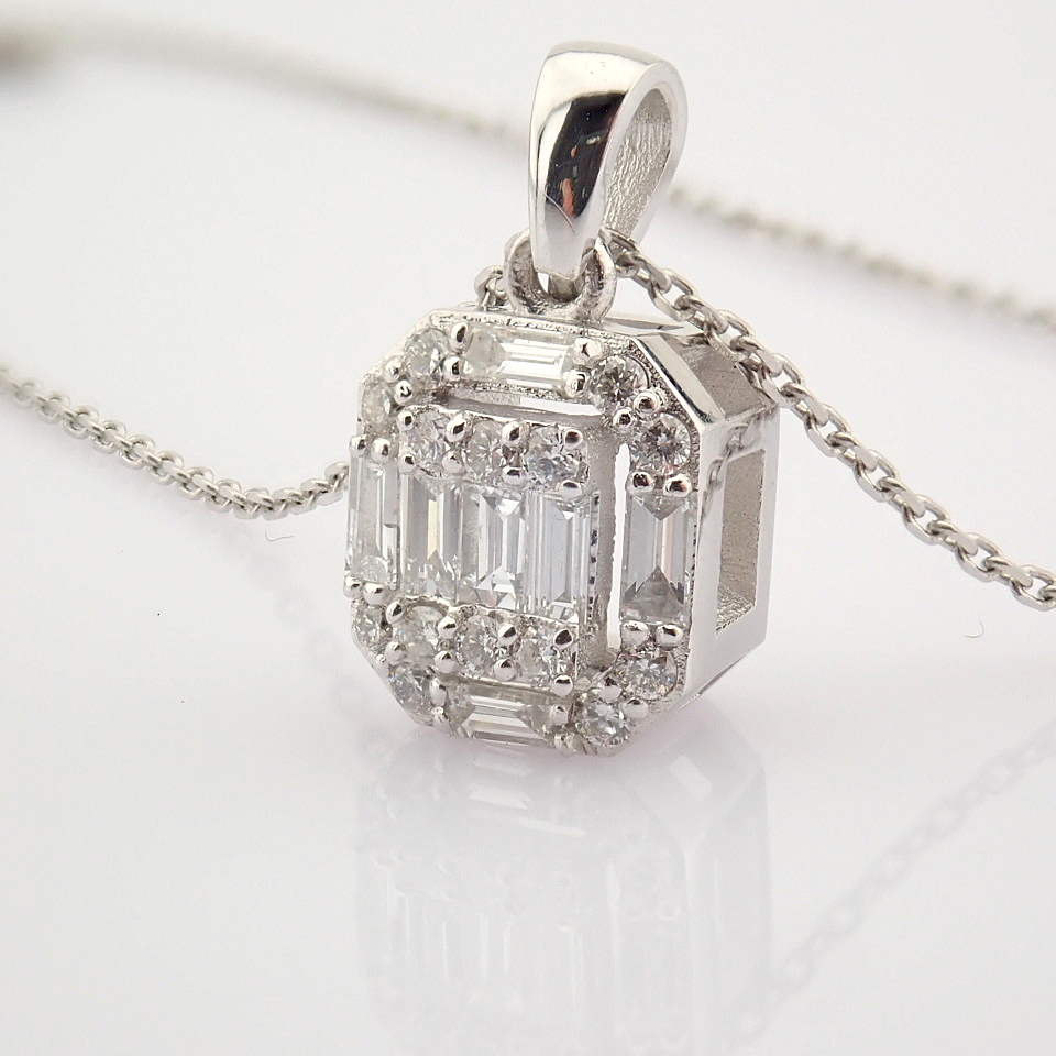 HRD Antwerp Certified 14k White Gold Diamond Pendant (Total 0.3 Ct. Stone) 14k White Gold Pendant - Image 6 of 8