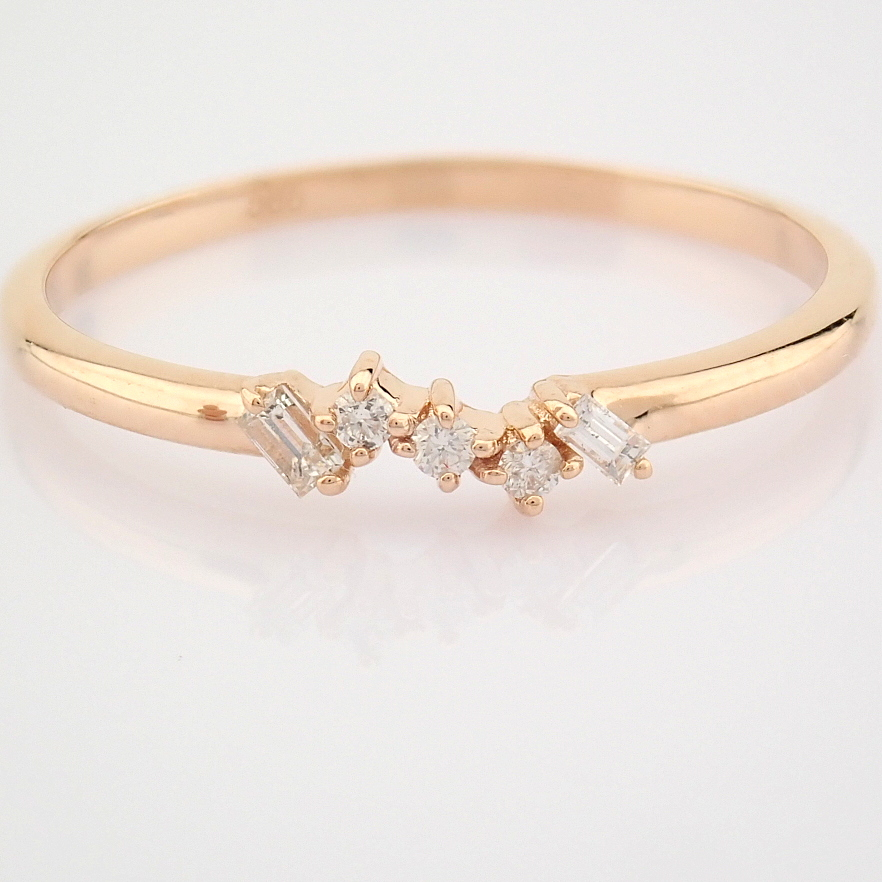 HRD Antwerp Certified 14K Rose/Pink Gold Baguette Diamond & Diamond Ring (Total 0.07 Ct. Ston... 14K