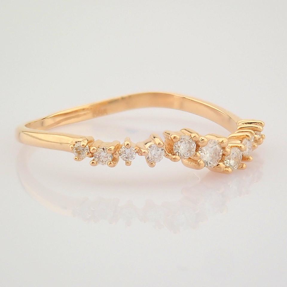 HRD Antwerp Certified 14K Rose/Pink Gold Diamond Ring (Total 0.21 Ct. Stone) 14K Rose/Pink Gold Ring - Image 7 of 10
