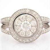 HRD Antwerp Certified 18K White Gold Diamond Ring (Total 1.09 Ct. Stone) 18K White Gold Ring
