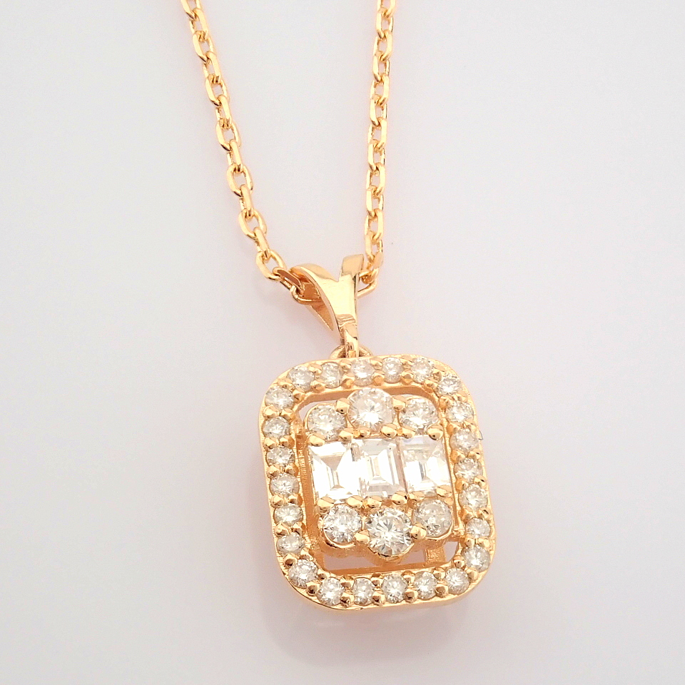 HRD Antwerp Certified 14K Rose/Pink Gold Diamond Necklace (Total 0.37 Ct. Stone) 14K Rose/Pink