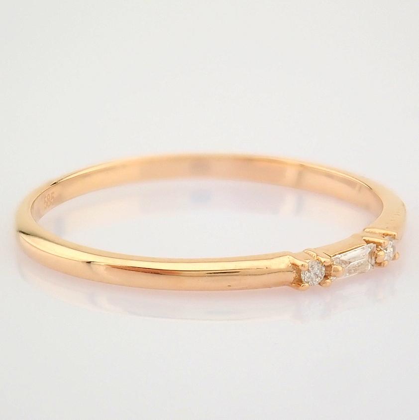 HRD Antwerp Certified 14K Rose/Pink Gold Baguette Diamond & Diamond Ring (Total 0.04 Ct. Ston... 14K - Image 3 of 9