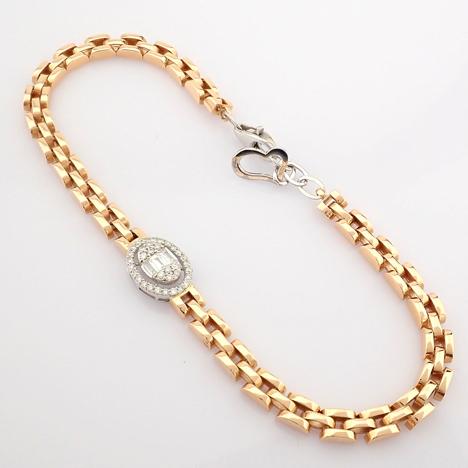 HRD Antwerp Certified 14K White and Rose Gold Diamond Bracelet (Total 0.3 Ct. Stone) 14K White and - Image 13 of 14