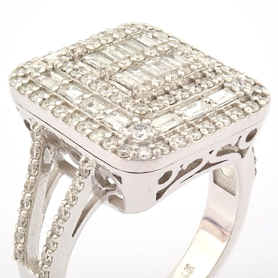 HRD Antwerp Certified 14K White Gold Diamond Ring (Total 1.25 Ct. Stone) 14K White Gold Ring - Image 7 of 9