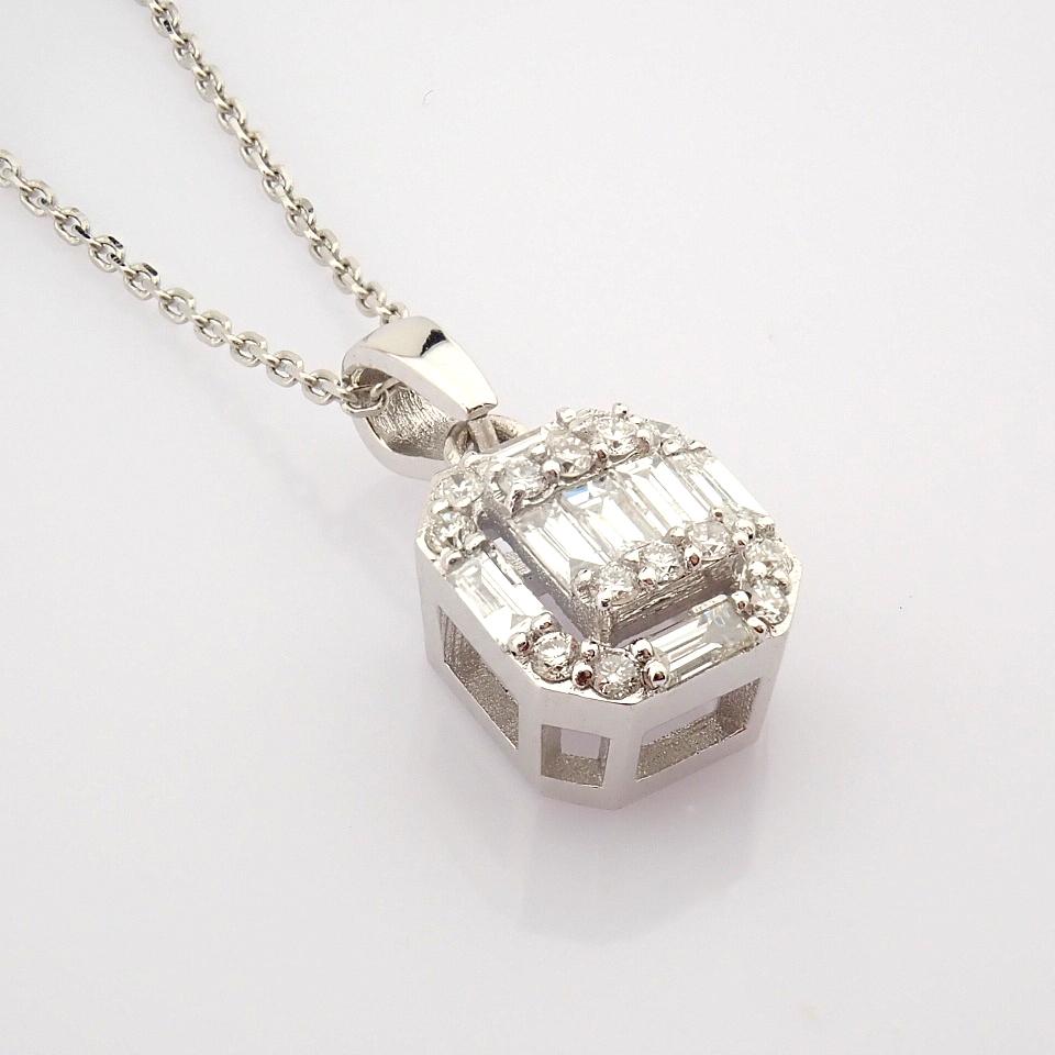 HRD Antwerp Certified 14k White Gold Diamond Pendant (Total 0.3 Ct. Stone) 14k White Gold Pendant - Image 2 of 8