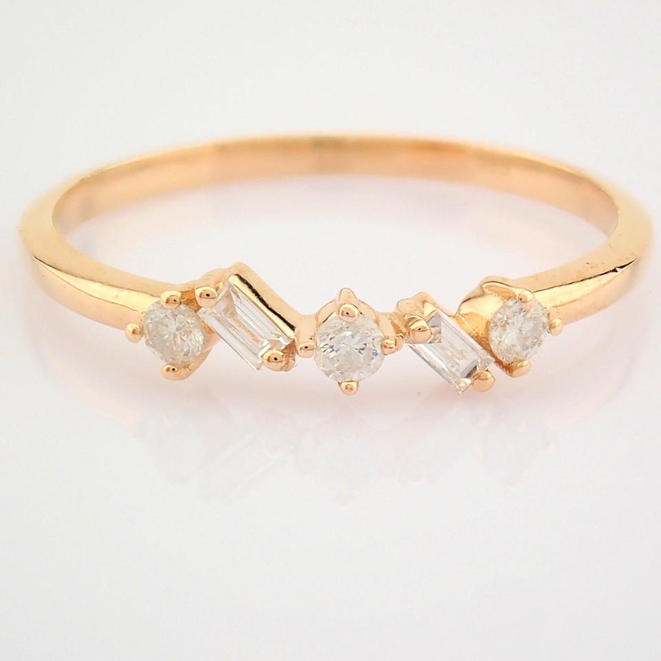 HRD Antwerp Certified 14K Rose/Pink Gold Baguette Diamond & Diamond Ring (Total 0.14 Ct. Ston... 14K