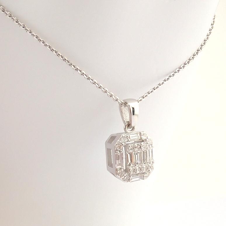 HRD Antwerp Certified 14k White Gold Diamond Pendant (Total 0.3 Ct. Stone) 14k White Gold Pendant - Image 8 of 8
