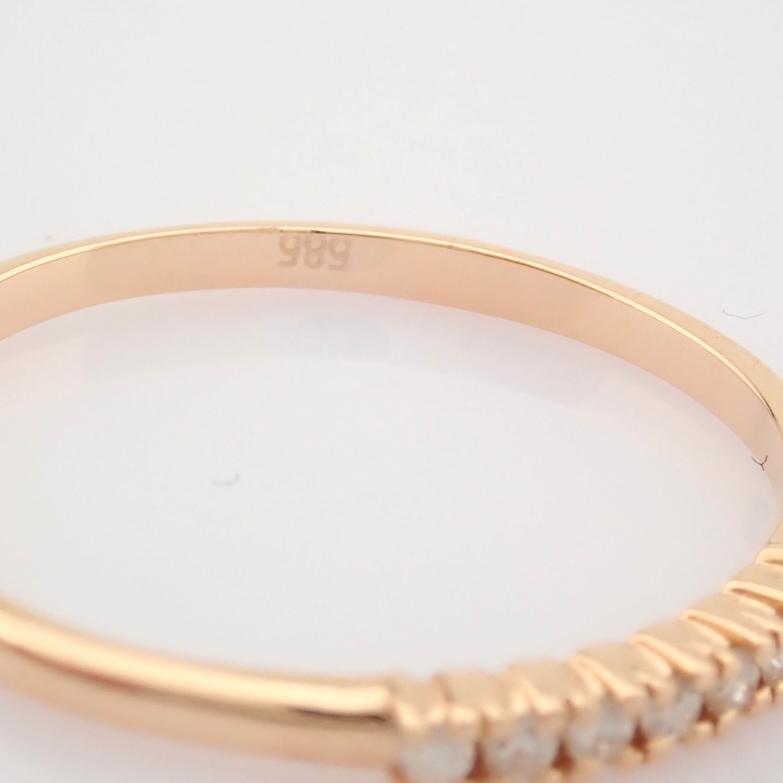 HRD Antwerp Certified 14K Rose/Pink Gold Diamond Ring (Total 0.06 Ct. Stone) 14K Rose/Pink Gold Ring - Image 6 of 9
