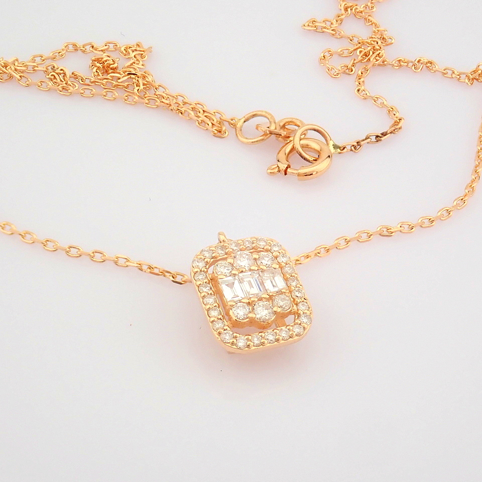 HRD Antwerp Certified 14K Rose/Pink Gold Diamond Necklace (Total 0.37 Ct. Stone) 14K Rose/Pink - Image 10 of 12